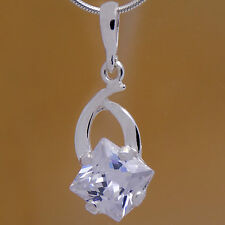 Marvelous Solid 925 Sterling Silver Flower White Cz Pendant & Gift Velour Strap