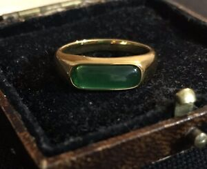 Vintage Style Jewellery Green Gemstone Ring 18K Gold Plated