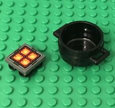 Lego Kitchen Chef Fire Food Hot Plate Mini Stove / Hot Pot With Cauldron Utensil