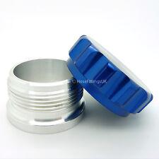 """3"""" 76 mm stampe blu alluminio saldatura SUL COLLO DEL BOCCHETTONE Tappo & Olio Combustibile Serbatoio Acqua Cella"""