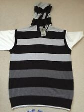 """New Mens Black/Grey Striped Hoodie Top By Reed Denim small size chest 42"""""""
