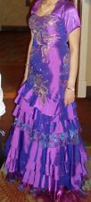 PURPLE PANOPLY PEACOCK SEQUIN STONE TAFFETA PROM PAGEANT GOWN DRESS SIZE 8