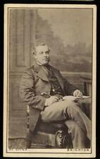 1870s Pair of CDVs Sitting/Standing Man with Cane & Book, Henry Spink, Brighton