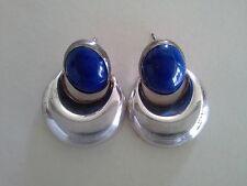 Vtg Artisan Lapis Lazuli EARRINGS Sterling Silver .925 Pierced Dangle Blue Oval