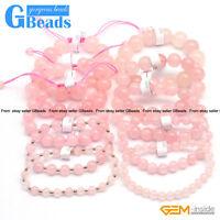 "Handmade Natural Pink Rose Quartz Beaded Energy Healing Stretchy Bracelet 7.5"""