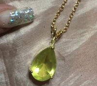 (DK4) huge Natural citrine Pendant on a Gold plated  Necklace with certificate
