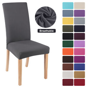 Dining Chair Seat Covers Stretch Wedding Banquet Party Removable Slipcover Solid