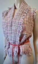 PAUL SMITH WOMEN Pink Wool Blend Tweed Sleeveless Jacket & Shorts Suit 38/42
