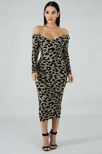Soft Gray Leopard On Off Shoulder Spicy Bodycon Long Midi Sweater Dress sz Large