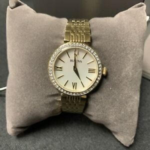 Bulova 98L276 Ladies Crystal Accented Stainless Steel Gold Tone Watch w/MOP Dial