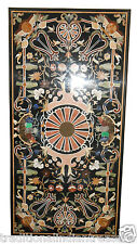 6'x3' Black Marble Dining Coffee Table Top Scagliola Inlay Gemstone Home Decor