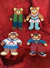 Exceptional Lot Four (4) Wooden BEARs Christmas Tree ORNAMENTS DECORATIONS