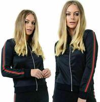 Womens Ladies Red/Green Bomber jacket Striped Zip Up Long Sleeve Biker  UK 8-14