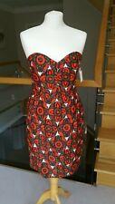Milly of new York Naranja/Marrón Marby vestido sin tirantes US6, UK10-12 PVP £ 300