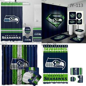 Seattle Seahawks 4PCS Bathroom Set Shower Curtain Toilet Lid Cover Non-Slip Mats