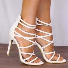 Ladies Womens Strappy PEEP Toe Stiletto High HEELS Shoes Sizes UK 3 4 5 6 7 8 White PU Leather Uk7/euro40/aus8/usa9
