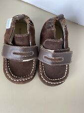 Robeez Baby Boy's Brown Leather Suede Shoes Size 4 moccasin
