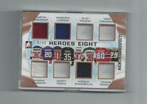 HEROES EIGHT RARE GOALIES MEMORABILIA CARD FROM 2016-17 ITG HEROES & PROSPECTS.