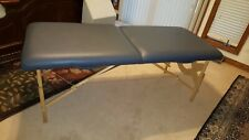 Earthlite massage table gently used portable blue w/ head piece, carrying bag