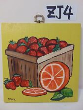 ORIGINAL SIGNED FOLK ART PAINTING ON WOOD PJ BICK MID CENTURY STRAWBERRY-ORANGE