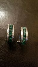 LOVELY 1.68 CT EMERALD & (2 PCS ) DIAMOND 925 STERLING SILVER HOOP EARRINGS