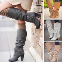 Women's Knee High Boots Belt Diamonds Strappy Slouch Shoes Buckle Studs Mid Heel