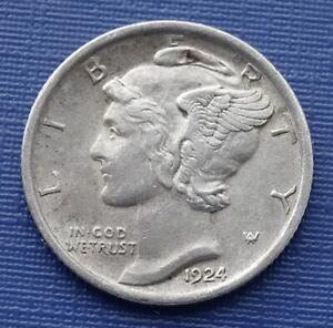 United States Silver Dime~1924 Mercury Dime~.900 Silver 2.5g~KM#140~VF+~#365