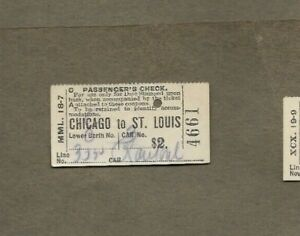 1904 CHICAGO TO ST LOUIS WABASH RAILROAD TICKET