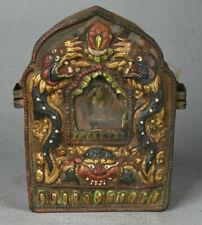 "4.8"" Old Tibet Buddhism Temple Bronze Painting Wenshu Manjushri Ghau Shrine Box"
