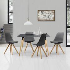 [en.casa] Esstisch mit 4 Stühlen grau Essgruppe Tisch Stühle Esszimmer 120x70cm
