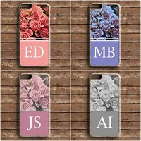 INITIALS PERSONALISED ROSES HARD PHONE CASE COVER FOR IPHONE 4 5 6 6s APPLE NEW