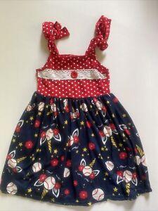 Toddler Girls Boutique Red White Blue Baseball Unicorn Sun Dress Sz 6 EUC