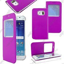 Accessoire Housse Etui Fenêtre View Flip Cover Violet Samsung Galaxy S6 G920F