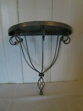 Vintage Wall Shelf Half Moon Wrought Iron Cottage Metal Silver Shabby Chic