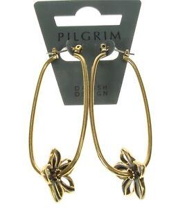 PILGRIM Hoop Earrings VELVET FLOWER Vintage Gold Brown Watercolour Enamel BNWT