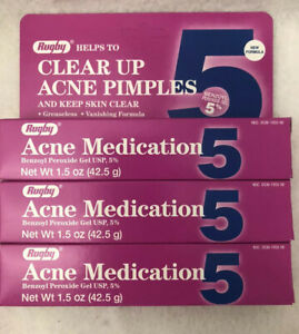 Rugby Benzoyl Peroxide 5 % Generic for Oxy Balance Acne Med Gel  1.5 oz (3 PACK)