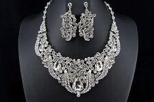 Wedding Bridal Bridesmaid Prom Party Rhinestone Necklace Earrings Jewelry Set