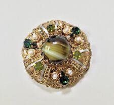 Vintage Gold Filigree Green Tones Glass Rhinestone & Pearl 2 Inch Round Brooch
