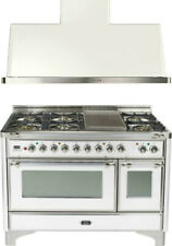 """New listing Ilve Majestic 48"""" Dual Fuel Gas Range Oven White Copper Trim With Hood Reduced"""