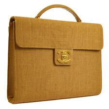 CHANEL CC Business Briefcase Hand Bag Brown Linen Leather Vintage AK35552g