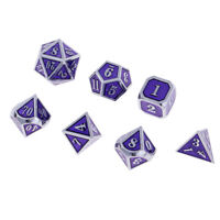 7X Alloy Dice 12mm Polyhedral D4-D20 for Dungeons & Dragons Games Purple A