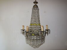 ~c 1930 French Empire Crystal Spear & Yellow Prisms RARE Chandelier Vintage Old~