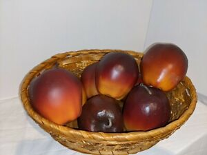 Vintage Wooden Apples Fruit Rustic Set of 8 Farmhouse Country Decor Faux