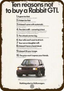 1983 VOLKSWAGEN RABBIT GTI VW Car Vintage Look DECORATIVE REPLICA METAL SIGN