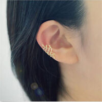 New Leaf Crystal Gold Plated Ear Wrap Earring Cuff Punk Earrings Stud Clip On