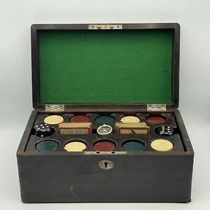 Vintage Antique Poker Chip Case Clay Chips Large Black Bakelite Dice Beautiful
