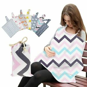 Mum Breastfeeding Nursing Cover Up Baby Poncho Shawl Udder Cotton Blanket + Bag