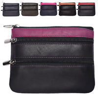 Mens Ladies Genuine Leather Loose Change Coin Card Pouch Holder Black Pink Red