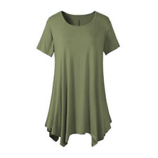 Women Summer Short Sleeve Swing Blouse Casual Solid Crew Neck Tunic T-shirt Tops