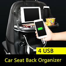 Car Back Seat Organiser Travel Storage Bag iPad Pocket Holder 4USB Charger AU